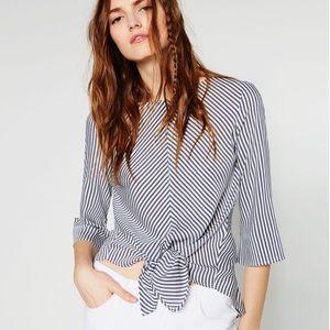 Zara • Striped Tie Knot Blouse